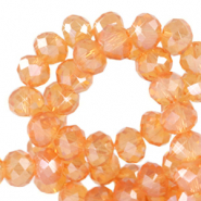 Top faceted beads 8x6mm disc Rust Orange-Pearl Shine Coating