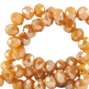 Top faceted beads 4x3mm disc Bleached Apricot Orange-Pearl Shine Coating