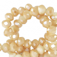 Top faceted beads 6x4mm disc Peachy Beige-Half Gold Shine Coating