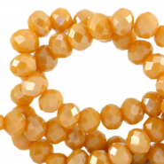 Top faceted beads 6x4mm disc Ceylon Yellow-Pearl Shine Coating