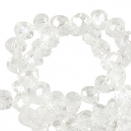 Top faceted beads 4x3mm disc Crystal-Pearl Shine Coating