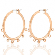 DQ European metal findings creole earrings 28mm with loops Rose Gold (nickel free)