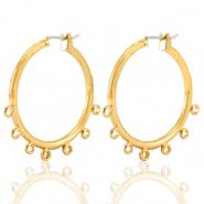 DQ European metal findings creole earrings 28mm with loops Gold (nickel free)