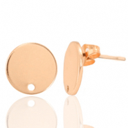 DQ European metal findings earpin round 12mm Rose Gold (nickel free)