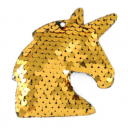 Charm with 1 eye sequin unicorn Gold