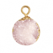 Natural stone charms crystal quartz 10mm Icy Pink-Gold