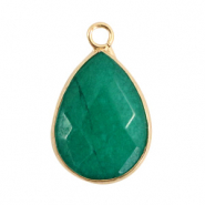 Natural stone charms drop Eden Green-Gold