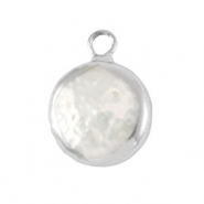 Freshwater pearls charm round Silver-Natural White