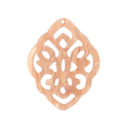 Resin pendants rhombus baroque Peach Pink