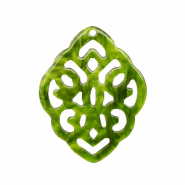Resin pendants rhombus baroque Guacamole Green