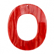 Resin pendants oval 48x40mm Chilli Red
