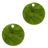 Resin pendants round 12mm Guacamole Green