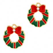 Metal charms christmas wreath Gold-Green Red