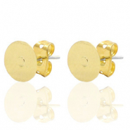 DQ European metal findings earpin round 6mm Gold (nickel free)
