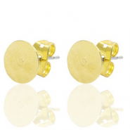 DQ European metal findings earpin round 8mm Gold (nickel free)
