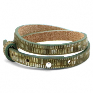 Cuoio bracelet leather croco 8 mm double for 12 mm cabochon Olive Green-Silver
