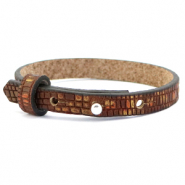 Cuoio bracelet leather croco 8 mm for 12 mm cabochon Colonial Brown-Gold