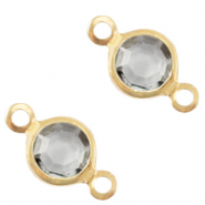 DQ European metal charms connector crystal glass round 6mm Gold-Grey Crystal