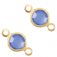 DQ European metal charms connector crystal glass round 6mm Gold-Victoria Blue Crystal