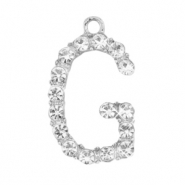 Metal rhinestone charms initial G Antique Silver