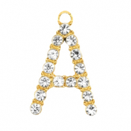 Metal rhinestone charms initial A Gold