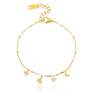 Stainless steel bracelets heart star & moon Gold