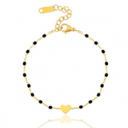 Stainless steel bracelets heart Gold-Black