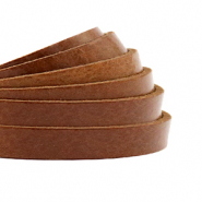 DQ European leather flat 5 mm Cognac Brown