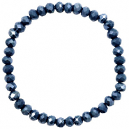Top faceted bracelets 6x4mm Dark Blue-Pearl Shine Coating
