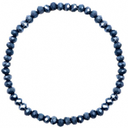 Top faceted bracelets 4x3mm Dark Blue-Pearl Shine Coating