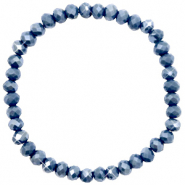 Top faceted bracelets 6x4mm Blue Stone-Pearl Shine Coating