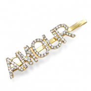 "Hair accessories bobby pin rhinestone ""AMOUR"" Crystal-Gold"