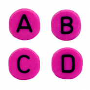 Acrylic letter beads mix Fuchsia purple