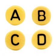 Acrylic letter beads mix Daffodil yellow