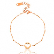 Stainless steel bracelets belcher chain cut out heart Rose Gold