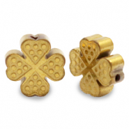 Hematite beads clover Gold (matt)
