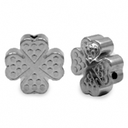 Hematite beads clover Light Grey (matt)
