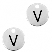 DQ European metal charms initial V Antique Silver (nickel free)