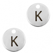 DQ European metal charms initial K Antique Silver (nickel free)
