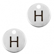 DQ European metal charms initial H Antique Silver (nickel free)