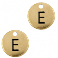 DQ European metal charms initial E Antique Bronze (nickel free)