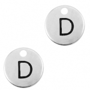 DQ European metal charms initial D Antique Silver (nickel free)