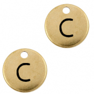 DQ European metal charms initial C Antique Bronze (nickel free)