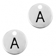 DQ European metal charms initial A Antique Silver (nickel free)