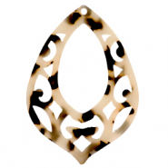 Resin pendants baroque drop Cream Black