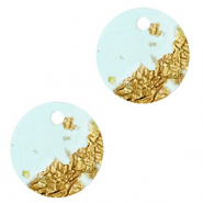 Resin pendants round 12mm Blue Gold-Transparent