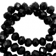 Top faceted beads 6x4mm disc Sky Black-Pearl Shine Coating