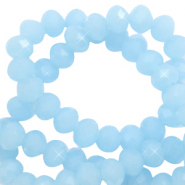 Top faceted beads 4x3mm disc Light Cyan Blue-Pearl Shine Coating
