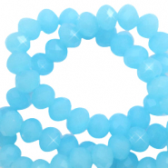 Top faceted beads 3x2mm disc Cyan Blue-Pearl Shine Coating