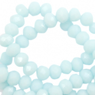 Top faceted beads 3x2mm disc Bleached Aqua Blue-High Shine Coating